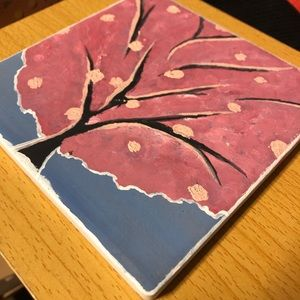 Oil hand painted tile art